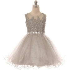SILVER Flower Girl Dress Formal Pageant Wedding Birthday Party Homecoming Prom