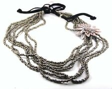 GRADUATED NECKLACE SILVER BEADS WITH LEATHER FLOWER ON BLACK THONG BY SUZIE BLUE
