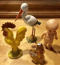 4 Vtg Hard Plastic KNICKERBOCKER Rooster/Stork / IRWIN Kewpie Doll Toys Rattles
