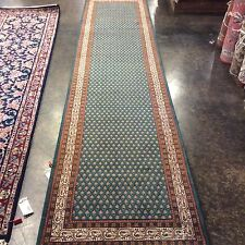 """Indo Persian Runner 2'8"""""""" x 11'5"""" Hand knotted in India. 9/60 quality. Green"""