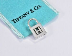 Tiffany & Co Sterling Silver Letter H Lock Charm Pendant For Necklace & Bracelet