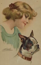 PC Lady with Dog BOSTON TERRIER a/s  Meunier old dog chien Hund postcard