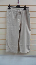 LADIES TROUSERS BEIGE/ STONE SIZE 12 CASUAL CROPPED SUMMER LINEN MIX    (G020