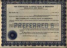 Cumberland National Bank of Bridgeton Stock Certificate New Jersey Unissued