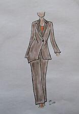 ORIGINAL MODEZEICHNUNG Modeskizze Damen fashion sketches 10-487