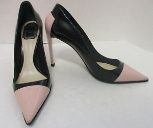 CHRISTIAN DIOR leather black & pink pointy toe cap-toe slim heel pumps sz 39