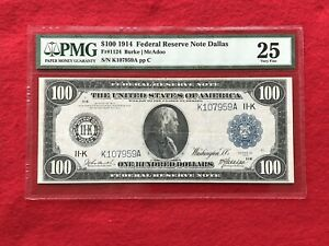 FR-1124  1914 Series $100 **DALLAS** Federal Reserve Note *PMG 25 Very Fine*
