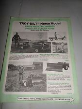 Troy-Bilt HORSE  Roto Tiller Parts and Attachment price List and Order form