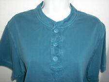 Eddie Bauer Henley T Shirt Large Teal Blue 100% Cotton