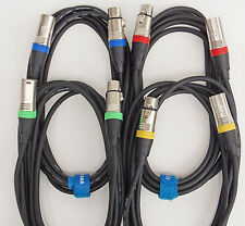 3m Mikrofon Kabel XLR DMX Kabel OFC-Kupfer 4 Stück je 3m lang inkl. Kabelklett