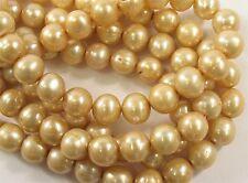 9-10mm LightChampagne Potato FreshwaterPearl Beads Genuine Cultured Pearls(#563)
