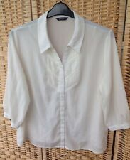 BHS Profile Petite Size 20 Cream Smart Office Blouse Shirt Pintuck 3/4 Sleeve