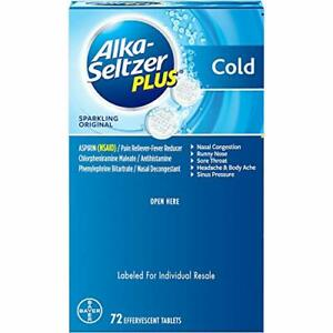 Alka-Seltzer Plus Cold Formula Sparkling Original (72 ct.) (Pack of 2)