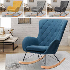 Rocking Chair Relaxing Armchair Lounge Leisure Chair Linen Padded Seat Wood Legs