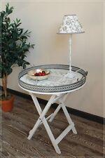 Tablett-Tisch Holz und Metall Shabby Stil Beistelltisch weiß Landhaus Stil NEU