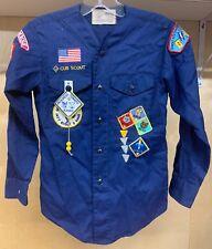 Boy Scout Cub Uniform Shirt Bear Bobcat Webelos Patches Pins Youth Blue Vintage
