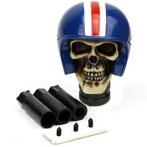 Blue Skull Helmet Car Handles Gear Shift Knob Manual Handbrake Covers