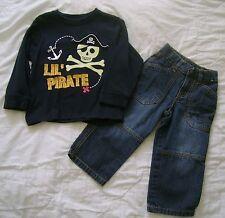 Boys Gymboree PIRATE Set Top Shirt Jeans Sz 2T 3T Blue Black Adjustable