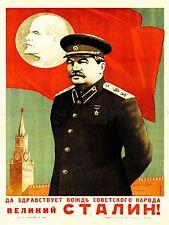 PROPAGANDA SOVIET UNION LENIN STALIN RED FLAG ART POSTER PRINT LV7037