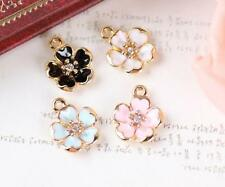 12pcs peach blossom color mix Metal Charm pendants DIY Jewellery Making crafts