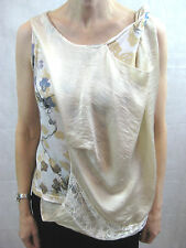 56G Gomme Size 8 Cream Grey Brown Floral Lace Top