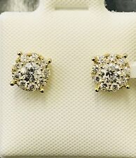 14k solid yellow gold Natural diamond  stud earring  cluster  April Birthstone