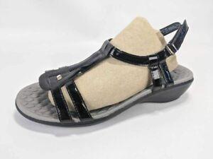 Clarks Womens T-Strap Sandals Black Hook And Loop Wedge Slingback 7 W EU 37.5