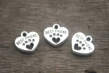 20pcs Best Friend Charms silver Tone with Heart Dog Paw charm pendants 15x15mm
