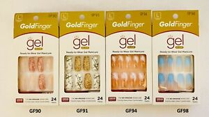 Kiss Gold Finger Gel Glam Ready to Wear 24 Press-On Nails Long Coffin Pre-Design