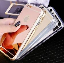 Soft Luxury Ultra Slim Mirror Back Silicone TPU Clear Bumper Phone Case Cover