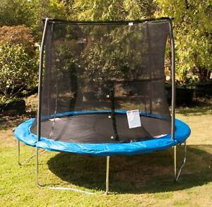 JumpKing JK10VC1 10 Foot Outdoor Trampoline and Safety Net Enclosure, Blue