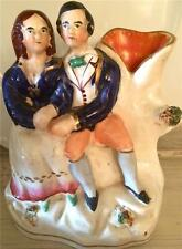 Antique English Staffordshire Figural Spill Vase of a Courting Couple