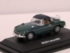 MG B Cabrio Roadster in dunkelgrün mit Softtop, mit Vitrine,TCM / Hongwell, 1:72