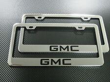 2 Brand New GMC chromed METAL license plate frame +screw caps