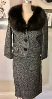 VTG 50'S MARSHAL FIELDS*ADOLPHE ZELINKA JACKET&SKIRT BLACK BOUCLE FOX FUR SUIT*S