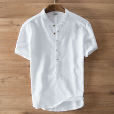 Mens Solid Linen T-shirt Short Sleeve Retrol Stand Up Collar Top Chinese Style