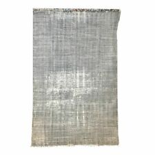 4'6 X 8' Printed Grey Distressed Cotton Rug 'Dhurrie' Flat woven style