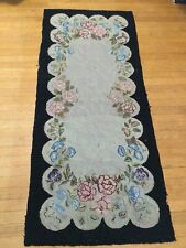 """Antique Hooked Rug Roses Flowers 67"""" x 28 1/2"""""""" - Old Maine Estate"""