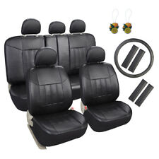 Black Faux Leather Car Seat Covers 17pcs Full Set with Steering Wheel/Belt Pad