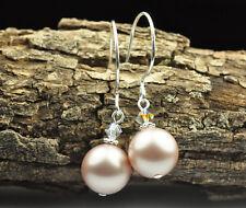 Powder Almond Crystal Pearl Earrings Sterling Silver Filled Made W Swarovski