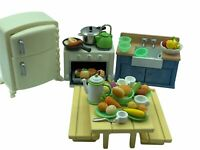 Calico Critters Sylvanian Families Rustic Kitchen Set With Fried Chicken