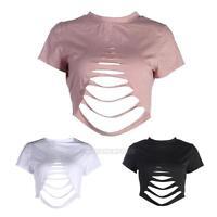 Sexy Women Girl Summer Short Sleeve Crop Tops Casual Cotton  T-Shirt Blouse Tops