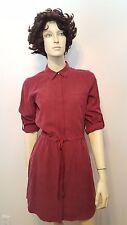 Lou & Grey Maroon Draw String Dress Button Down Front Pockets Sz XS