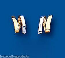 Oro Pendientes De Presión Dos Colores Tachuelas Blanco y Amarillo