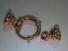 14kt Gold Oversized Spring Ring Clasp with Fluted Cap Ends 35 MM x 18 MM