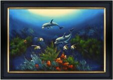 Framed Quality Hand Painted Oil Painting Seaworld with Dolphins 24x36in