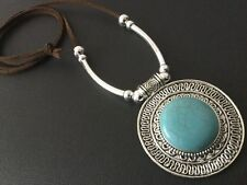 Long Brown Suede Necklace With A Round Antique Ethnic Turquoise Pendant Boho