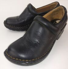 B.O.C Born Concept Wos Wedge Clogs US 7 M EU 38 Black Leather Slip-On Casual 262