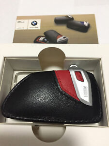 Genuine Style Leather Red Key Holder Cover Case For BMW X1 X3 X5 X6 M F15 F16