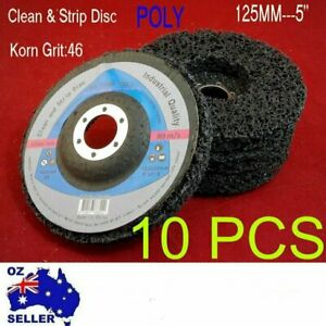 """5""""/125mm 46 Grit POLY STRIP DISC WHEL PAINT RUST REMOVAL CLEAN ANGLE GRINDER 10P"""